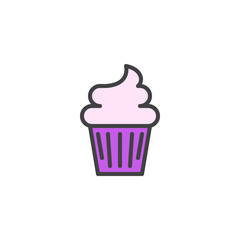 Cupcake filled outline icon, line vector sign, linear colorful pictogram isolated on white. Muffin cake symbol, logo illustration. Pixel perfect vector graphics