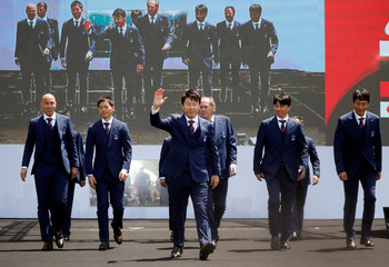 South Korea men's national football team head coach Shin Tae-yong and his coaching staff attend their inaugural ceremony in Seoul