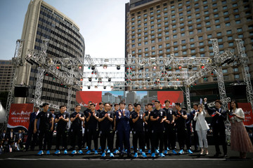South Korea men's national football team head coach Shin Tae-yong and team players attend their inaugural ceremony in Seoul