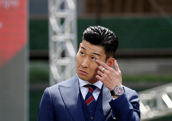 South Korea men's national football team player Son Heung-min attends their inaugural ceremony in Seoul