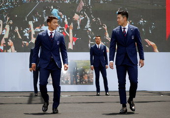 South Korea men's national football team players Son Heung-min and Hwang Hee-chan attend their inaugural ceremony in Seoul