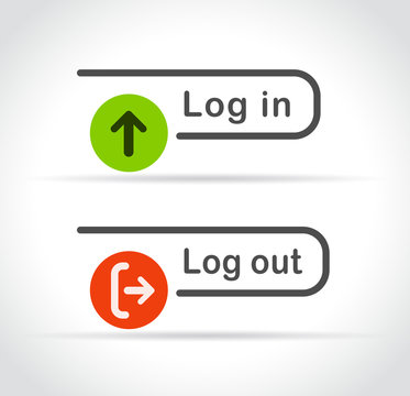 login and logout icons on white background