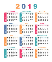 Calendar 2019 (week starts with sunday).