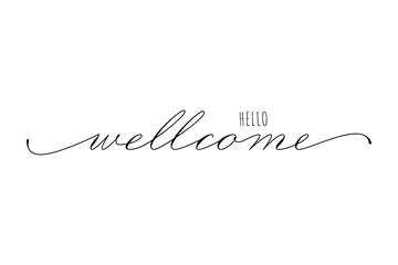 Lettering hello welcome wrote by handwriting of Spencerians . Hello welcome calligraphy.