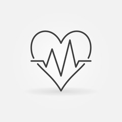 Heart beat vector minimal icon. Heartbeat sign