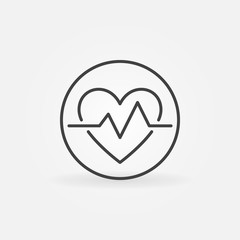 Heartbeat in circle vector icon in thin line style