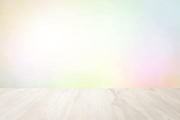 Wood terrace white blurred and Christmas or focus design in happy holiday party. Vintage or Pastel spring lights include in surface and flare bright glow under sun at smooth plain texture background.