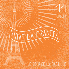 Bastille Day. French National Holiday. The Eiffel Tower in scale. Grunge background, firework. Orange and white