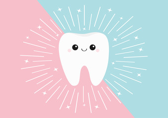 Healthy tooth icon. Cute kawaii face with eyes and smile. Round line circle. Flat design. Oral dental hygiene. Children teeth care. Shining effect stars. Pink blue pastel color background.