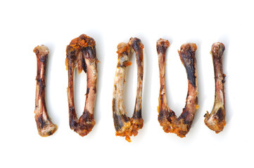 Chicken Bones is on white background