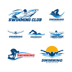 Set of Swimming logo designs vector, Creative Swimmer logo Vector