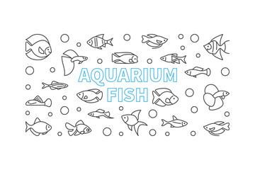 Aquarium fish vector horizontal banner in thin line style