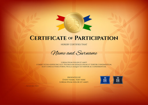 Certificate template in basketball sport theme with basketball theme color background, Diploma design