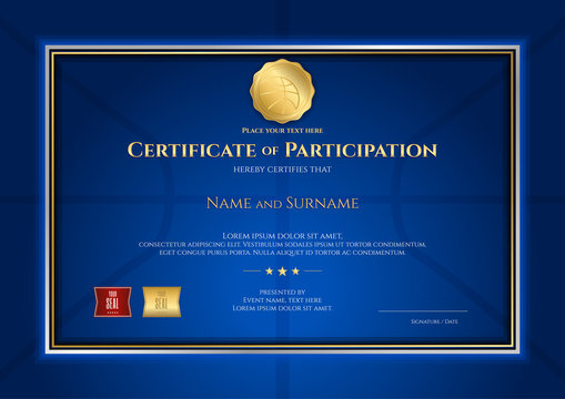 Certificate template in basketball sport theme with blue background and border frame, Diploma design