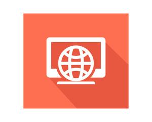 computer globe business company office corporate image vector icon logo