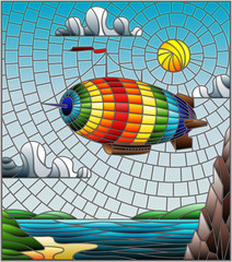 Illustration in stained glass style with a rainbow airship flying over a plain with a lake on a background of mountains, cloudy sky and sun