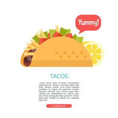 Tacos. Delicious Mexican fast food in corn tortillas.  Vector illustration.
