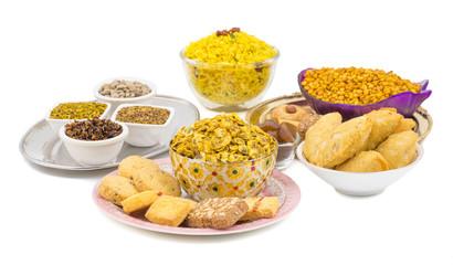 Indian Group of  Diwali and Holi Celebration Food Namkeen, Chivda, Chiwada, Karanji, Namkin, Nimco, Mixture Namkeen, Masala Chana, Gujiya, Chana Chor Garam, Cookies, Biscuits or Mouth Freshner