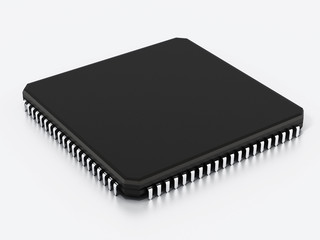 Black computer microchip isolated on white background. 3D illustration