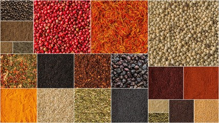 Collage of different herbs and spices background.