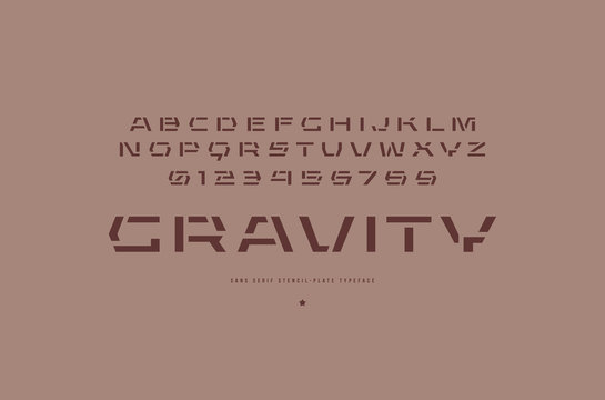 Stencil-plate sans serif font in urban style
