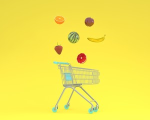 Creative idea layout shopping cart with fruits floating on yellow pastel background. minimal idea food and fruit concept.Ideas creatively to produce work within an advertising marketing communications