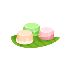 Delicious Indonesian dessert. Sweet snacks on green leaf. Food theme. Flat vector element for recipe book or menu