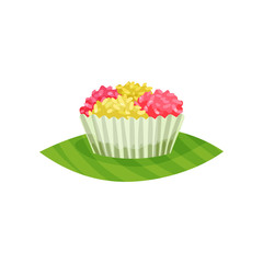 Traditional Indonesian cupcake. Delicious dessert. Oriental sweets. Flat vector design for cafe menu or recipe book