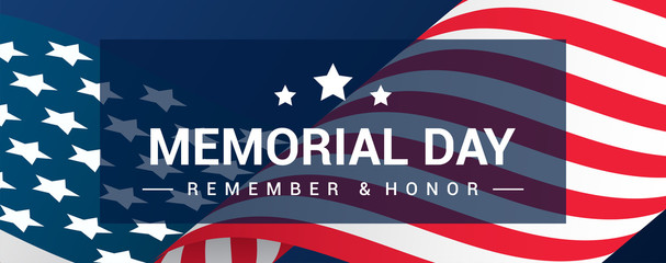 Memorial Day Banner Vector illustration, USA flag waving on blue background. Header design