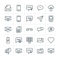Modern Simple Set of cloud and networking, chat and messenger, mobile, email Vector outline Icons. Contains such Icons as  answer,  mobile and more on white background. Fully Editable. Pixel Perfect