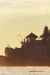 Silhouette of Tanah Lot temple in Bali, Indonesia.