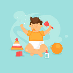 Child is playing, satisfied. Flat design vector illustration.