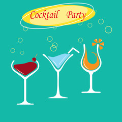 silhouette glasses with cocktail on bright blue cocktail party background