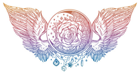 Moon crescent with rose flower with angel or bird wings.