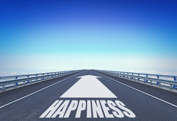 Straight motorway with a forward arrow and text Happiness. Concept of moving to happy life