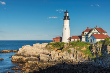 Portland Head Lighthouse in Cape Elizabeth, New England, Maine, USA.  One Of The Most Iconic And Beautiful Lighthouses.