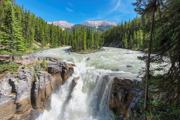 Poster Canada Canadian Rockies. Beautiful view to Sunwapta falls in Jasper National Park, Alberta, Canada.