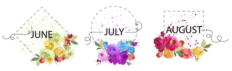 Summer month. Flower frames. Decor