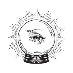 Hand drawn fortune telling magic crystal ball with eye of providence . Boho chic line art tattoo, poster or altar veil print design vector illustration.