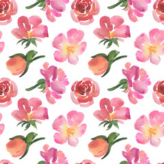 Seamless pattern of pink watercolor rose flowers