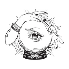 Hand drawn magic crystal ball with eye of providence in hands of fortune teller. Boho chic line art tattoo, poster or altar veil print design vector illustration.