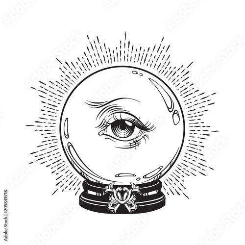 Hand drawn fortune telling magic crystal ball with eye of