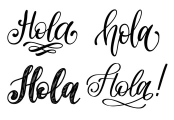 Set of handwritten phrase Hello in Spanish.Vector calligraphy on yellow background.