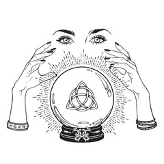 Hand drawn magic crystal ball with Triquetra or Trinity knot in hands of fortune teller line art and dot work. Boho chic tattoo, poster or altar veil print design vector illustration.
