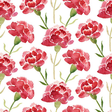 Seamless pattern of red watercolor carnations