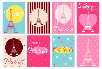 Collection of banners with Eiffel tower