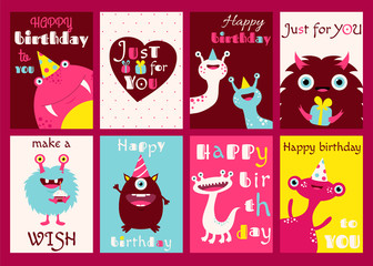 Set of birthday banners with cute monsters