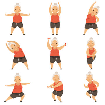 Senior woman doing morning exercises, active and healthy lifestyle of retired people vector Illustration on a white background