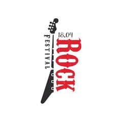 Rock festival logo, 18 april, black and red emblem vector Illustration on a white background
