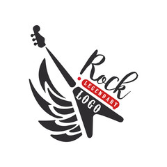 Rock logo, black and red emblem for rock club or festival with electric guitar vector Illustration on a white background